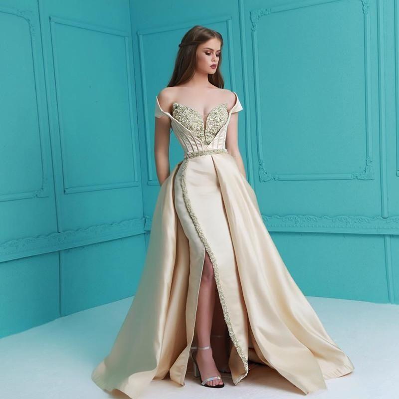 2020 Árabe frisada Querida Prom Vestidos Overskirt New Alças Sexy Side Dividir Mermaid Evening vestidos de festa Vestido Vestido De Festa