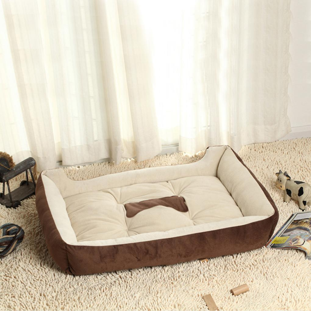 Aqueça Brown Black Fleece Dog Pet filhote de cachorro Cat Kennel Bed Mat Pad Casa Almofada 2 Cor