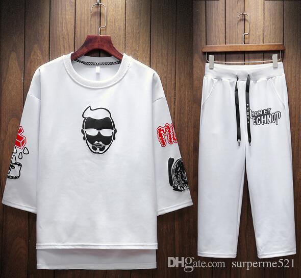T-shirt da uomo estate marca T Shirt + pantaloni Suit lettere stampa a righe maniche T Shirt Suit Suit Joggers di marca Tuta