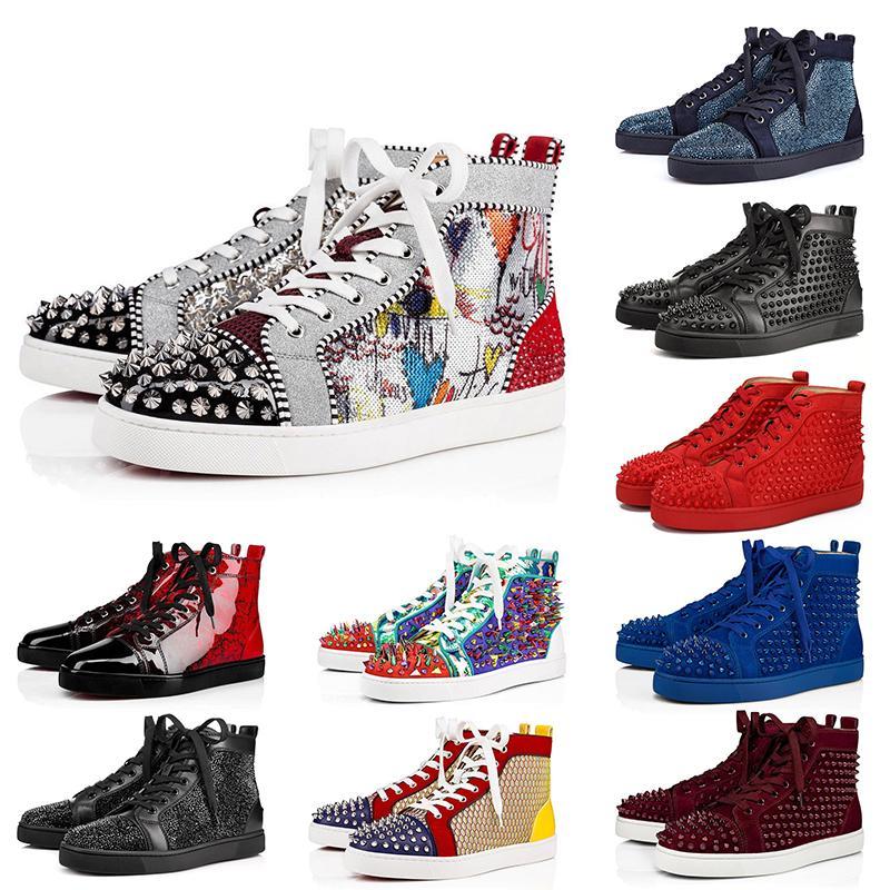 Дизайнер красные днища обувь шипованные шипы замша кожа мужская женская плоская мода роскошные повседневная обувь мокасины платформа Партия кроссовки 36-47