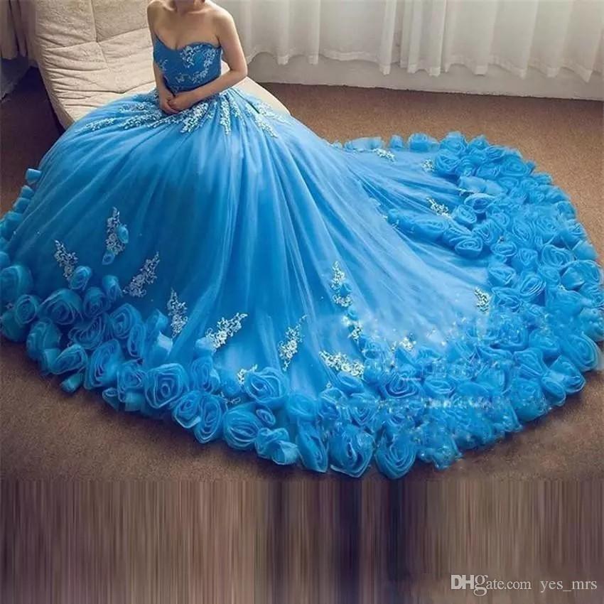 2020 Neues Design Blau Quinceanera Ballkleid Kleider Schatz Rose Blumen Appliques Sweet 16 Tüll Korsett Back Party Prom Abendkleider