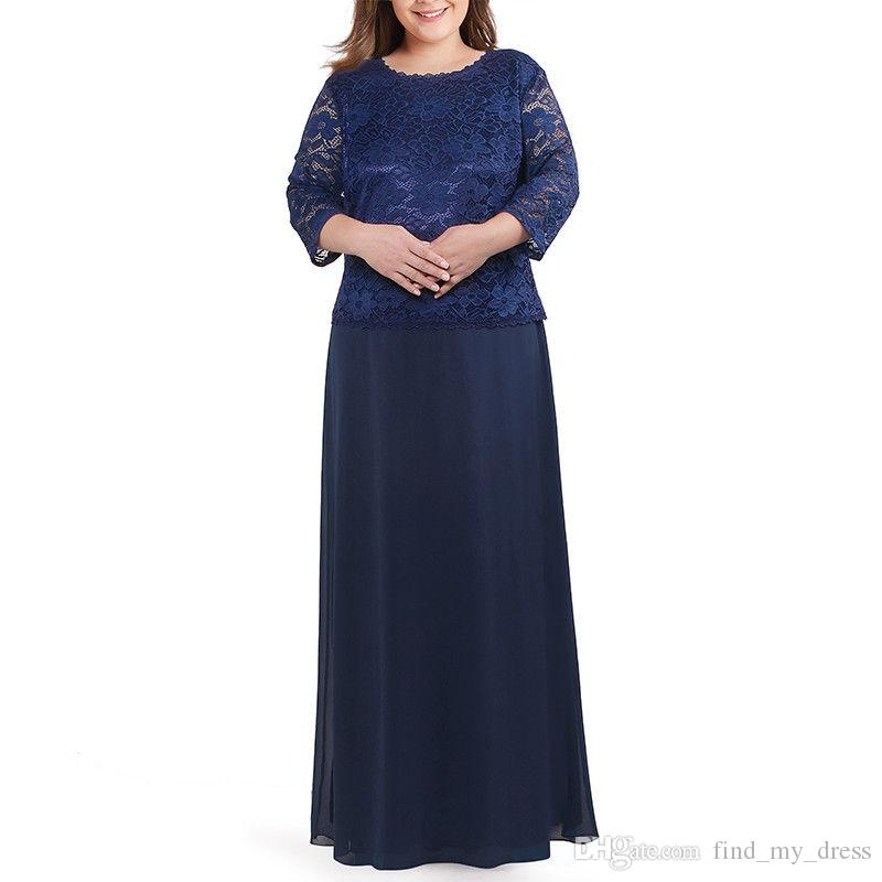 Plus Size 3/4 Sleeves A Line Dark Navy Blue Chiffon Mother of the Bride Dress Lace Vintage Wedding Party Formal Gowns Modest
