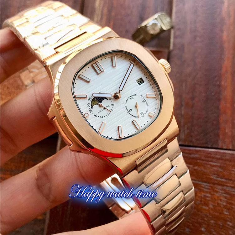 Alto versión 5712 / 1A-001 blanca Fecha Dial Movimiento de Caja en oro rosa de acero automático 5712 / 1A-001 del reloj para hombre de acero de plata de la correa mira negocio