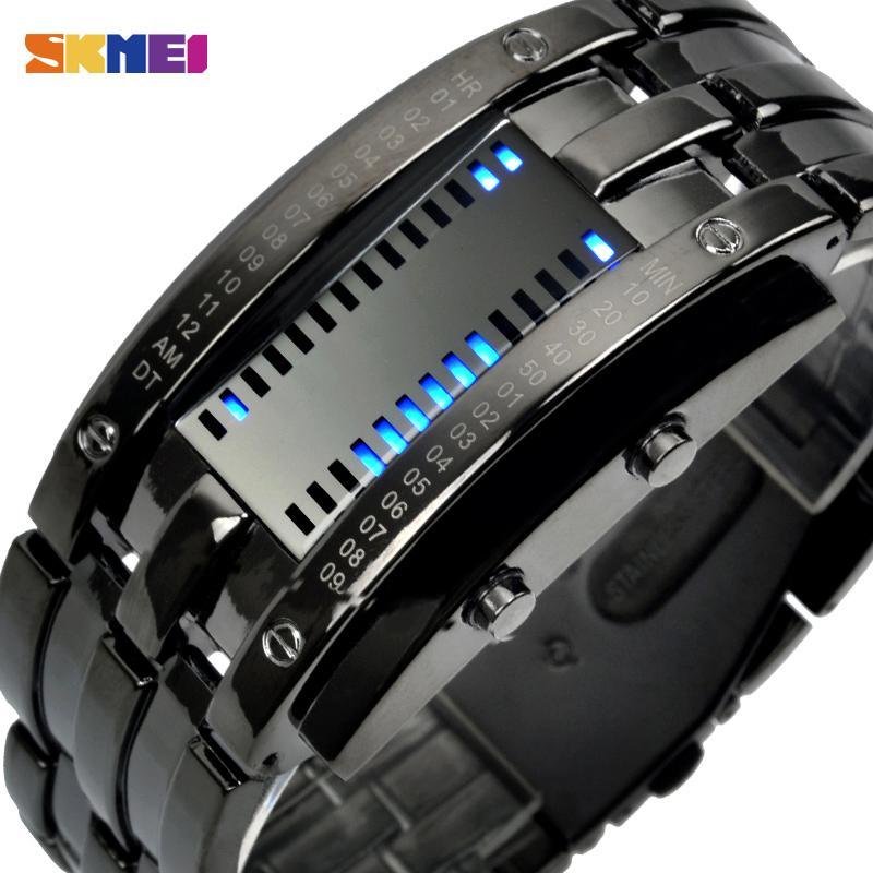 SKMEI Art und Weise kreativer Sport-Uhr-Mann-Edelstahl-Bügel LED-Anzeigen-Uhren 5Bar wasserdicht Digitaluhr reloj hombre 0926
