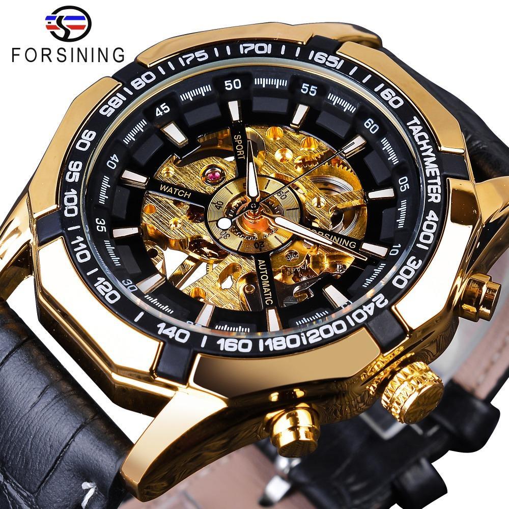 Forsining noir squelettique d'or imperméable Horloge à deux boutons mécaniques Décoration Montres pour homme noir en cuir véritable