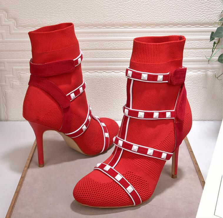 Hot Sale- sexy red green Elastic Ankle Boots for Women High Heels Knitted white rivets studded stretch sock shoes women chaussure femme