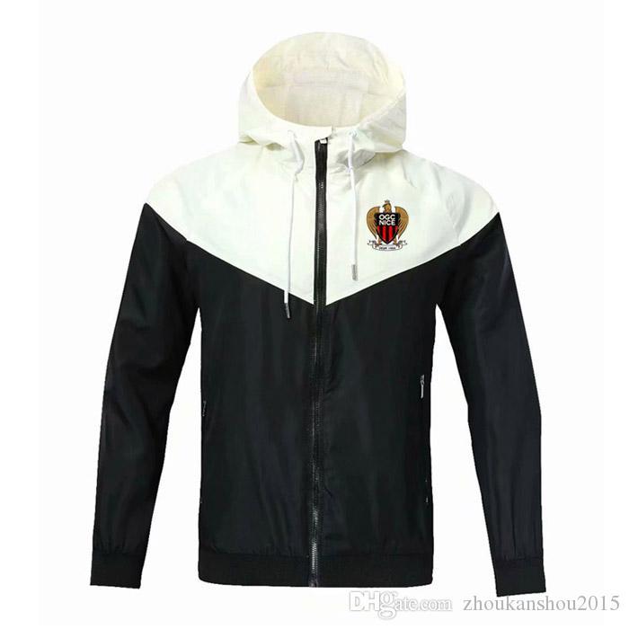 giacca a vento cerniera OGC Nice, giacca con cappuccio OGC Nice calcio Windbreaker Calcio sportivo OGC Nice mano piena con cerniera giacche da uomo
