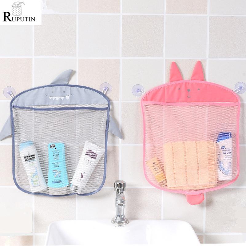 1pc Cartoon Wandbehang Badezimmer-kosmetische Aufbewahrungstasche gestrickte Netz-Ineinander greifen-Tasche Baby-Bad-Spielzeug Make Up-Organisator-Behälter Hang Taschen