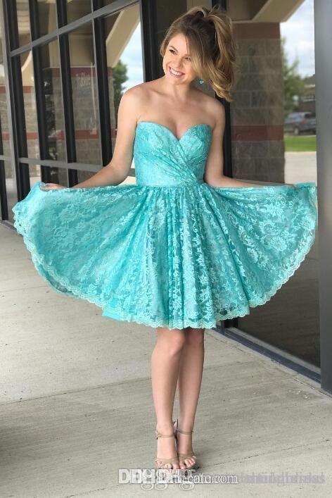 Зеленый кружева милая формальные Пром платье сладкий коктейльные платья женщин бальное платье Homecoming платья WH006