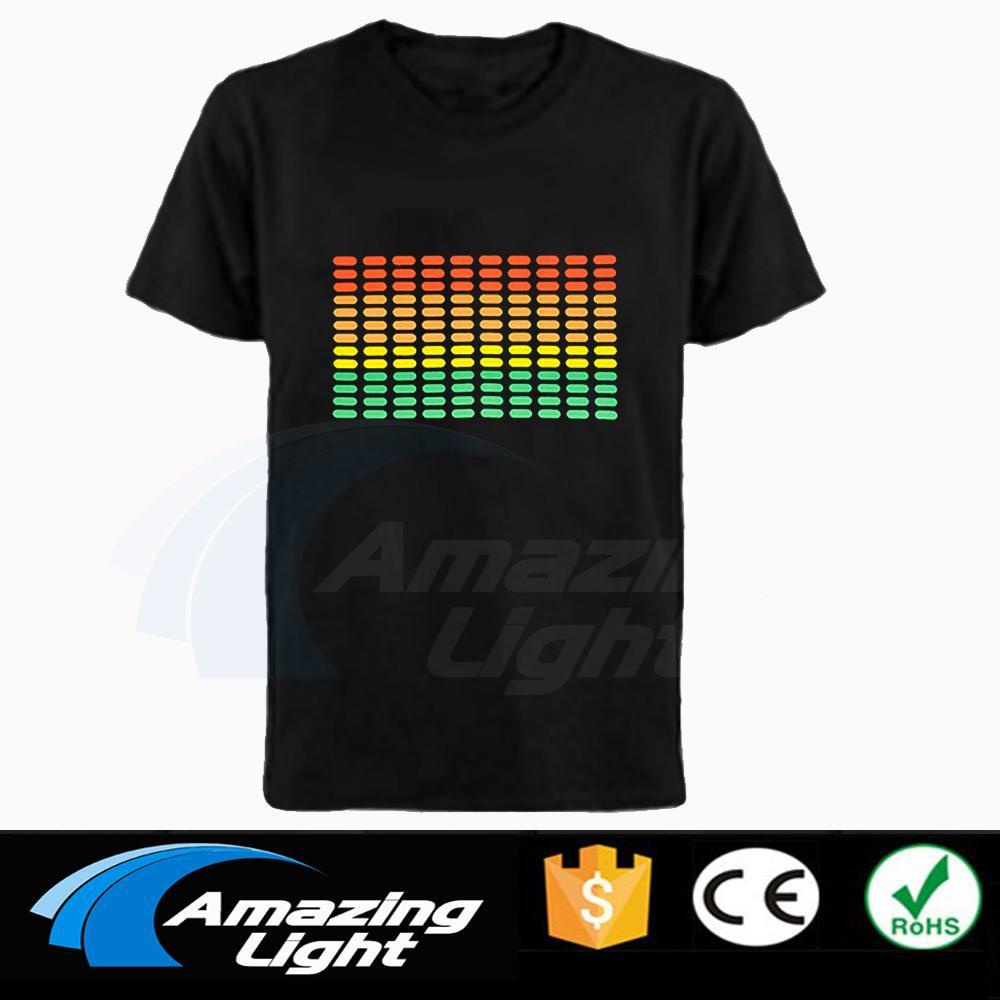 Heißer Verkauf Musiksteuerungs- Equalizer El-T-Shirt Equalizer leuchten hinunter führte T-Shirt Flashing Musik aktiviert geführt