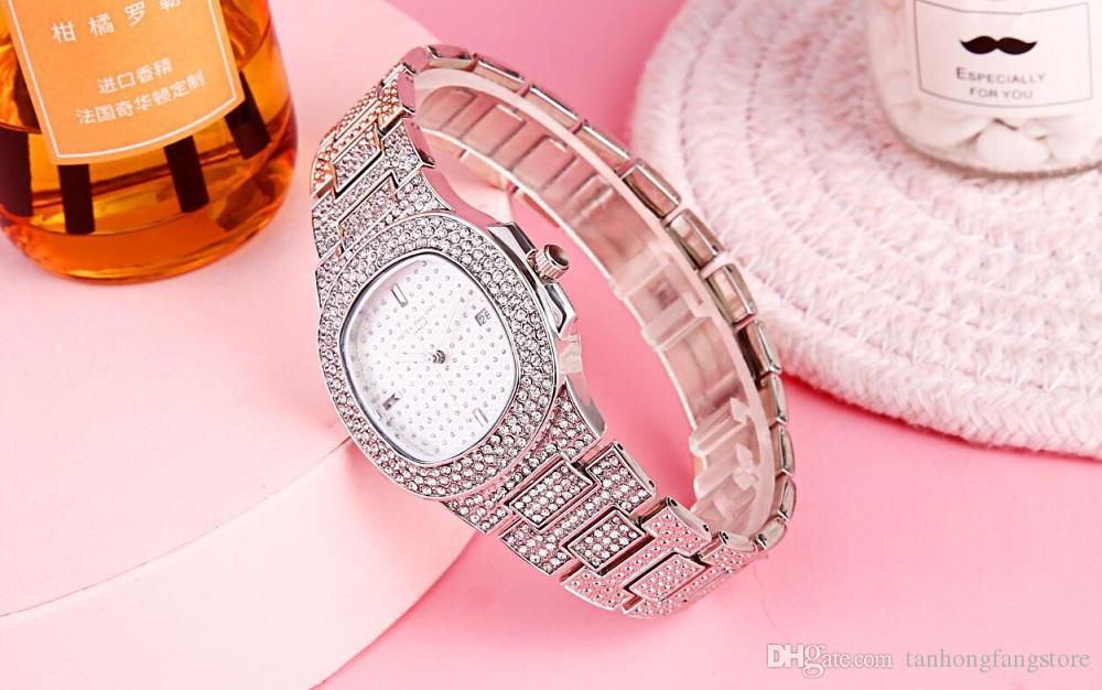 핫 아이템 여성 남성 전체 다이아몬드 캐주얼 디자이너 골드 손목 시계 패션 럭셔리 레이디 시계 쿼츠 시계 Relojes 드 마르카 Mujer보기