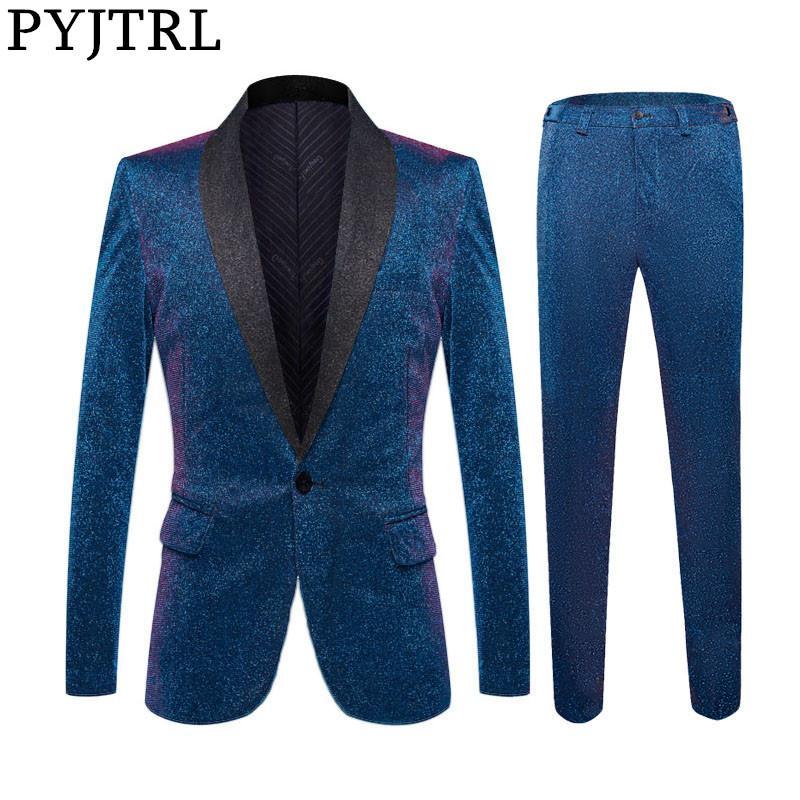PYJTRL Mens Блестящий синий шаль лацкане 2 шт Набор костюмы Последние Coat Pant Дизайн Свадебные костюмы смокинги Пром Singers одежды
