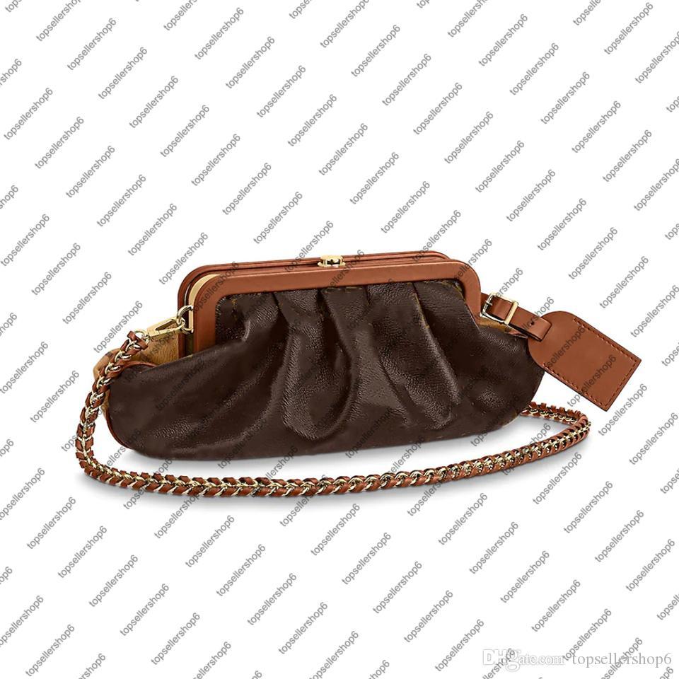 M45229 Boursicot EW 여성 체인 파우치 숄더 백 지갑 메신저 클러치 정품 송아지 가죽 빈티지 - 영감을 얻은 Boursicot 파우치 저녁 가방