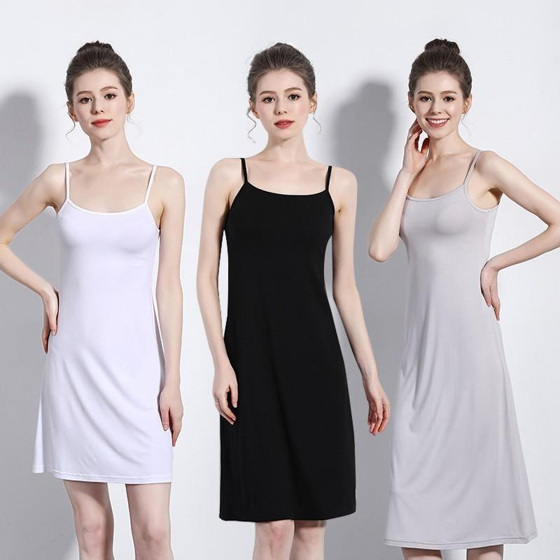 Women's Camisoles Full Slips Dress With Shoulder-straps Long Under Dress Solid Underskirt Inner Petticoat Height 90 To 120cm Y19071901