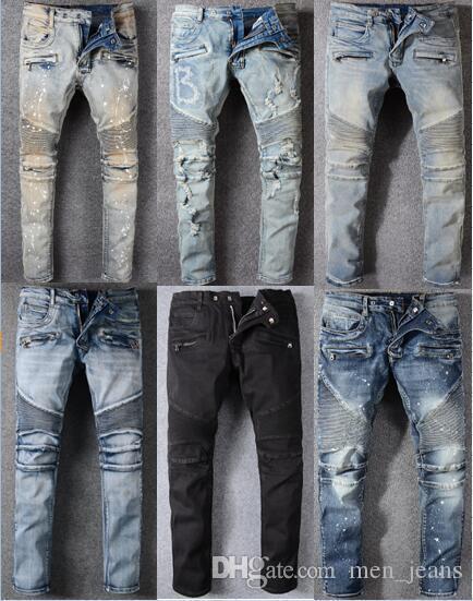 jeans di marca di tendenza allungano i jeans delle rughe sottili nostalgici Mens piedi pantaloni marca di marea di designer di abbigliamento di moda i pantaloni