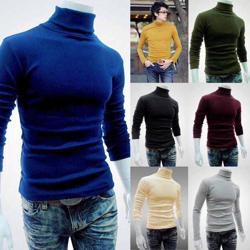 Los nuevos hombres de la moda t shirt camiseta tapas delgadas masculino tramo camiseta de cuello alto de manga larga Tee Shirts camisetas de algodón altos hombres del collar