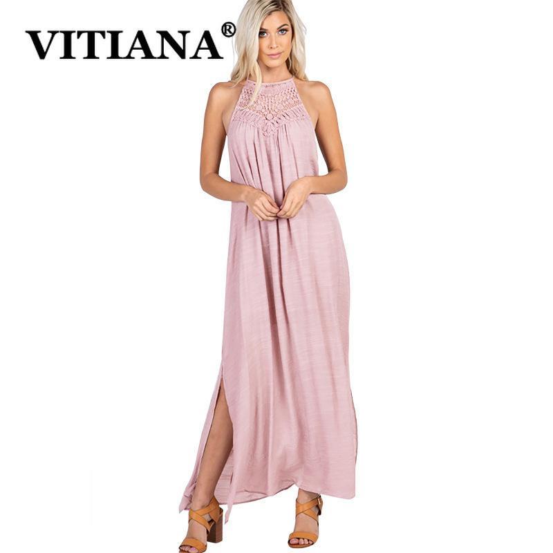 Vitiana Femmes Casual Plage Robe Longue Été 2019 Femelle Sans Manches Col Encoche Titulaire Marine Partie Bleu Lot Robes Y19071101