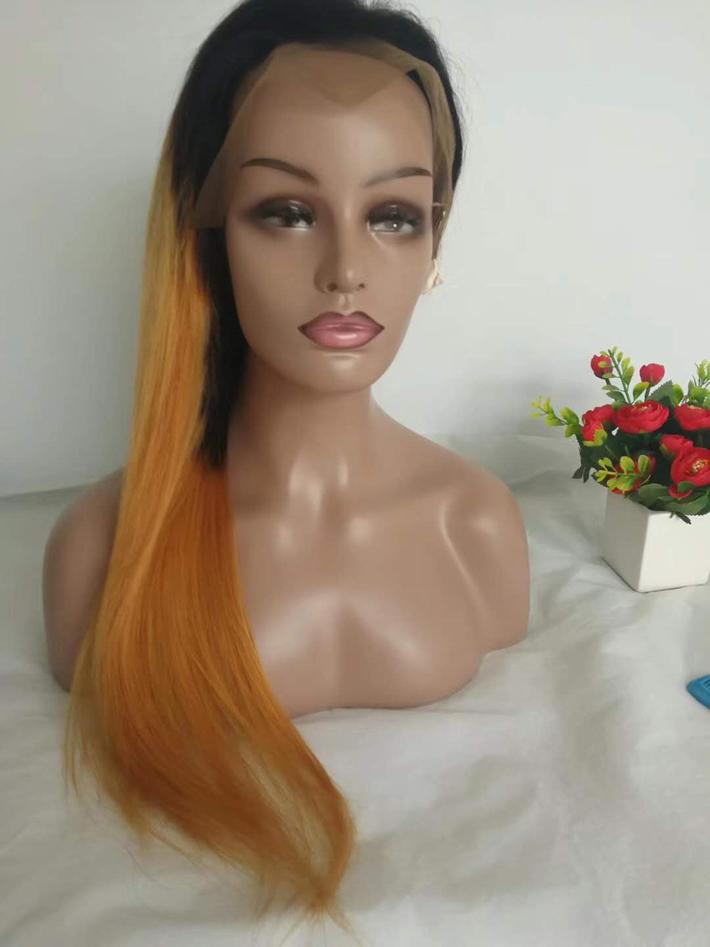 Honey Blonde Ombre Human Hair Wig Peruvian Straight Braided Lace Front Wigs For Black Women Natural Hairline Colored T1B/27 Full Lace Wig