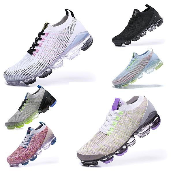 Nike air vapormax 2019 2018 Flyknit 2.0 3.0 running shoes Chaussures de course Triple multi-couleurs CNY pur Platinu Blanc Dusty Cactus minuit marine Hommes Femmes