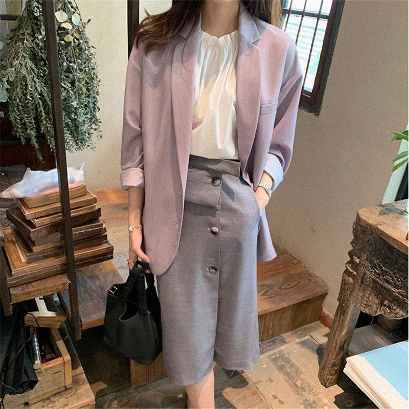 Women Streetwear Fashion Thin Solid 2020 Plus New Women Leisure Retro Girl Fashion Chic Gentle Loose All Match Hot Blazers