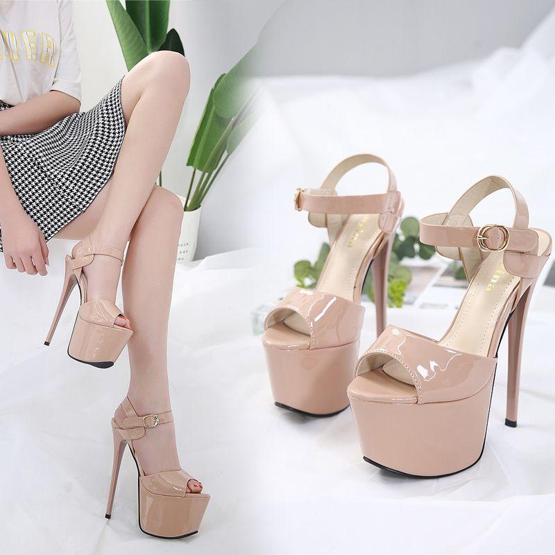 17cm Sexy Nude Heels Prom Gorwn Dress Shoes Black Pu