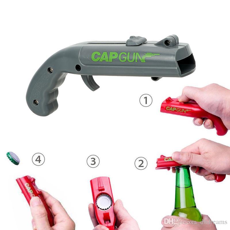 Can Açıcılar Bahar Kap Mancınık Launcher Gun Şekli Bar Aracı İçecek Açılış Shooter Bira Şişe Açacağı Yaratıcı