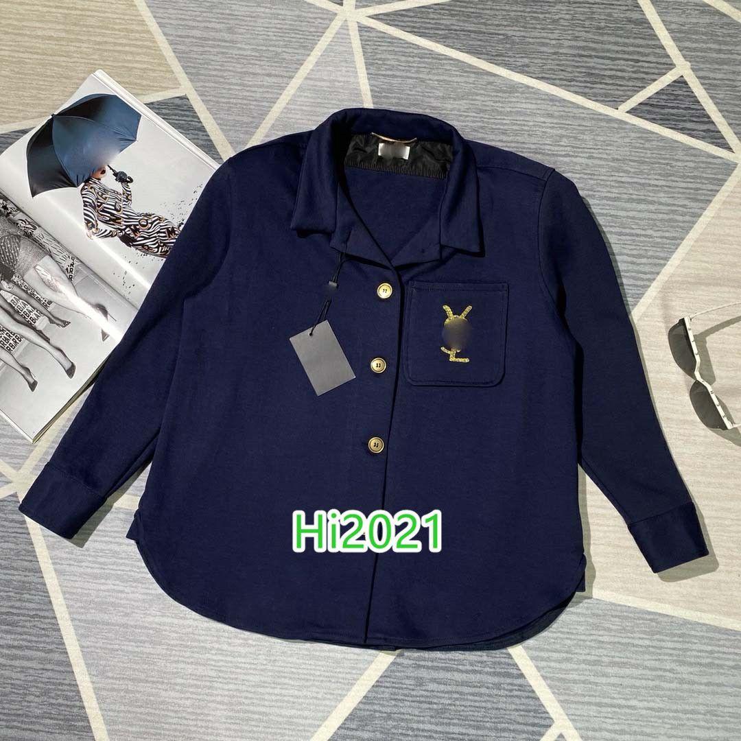 하이 엔드 여성의 소녀 캐주얼 셔츠 재킷 코트 편지 로고 자수 싱글 브레스트 재킷 블라우스 2020 패션 고급스러운 디자인 느슨한 정상