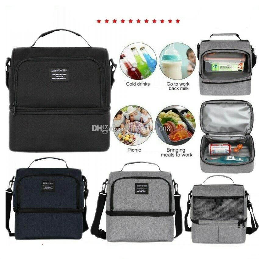 Çok İşlevli Çift Bento Çanta Su Geçirmez Sızdırmaz Yalıtımlı Taze Soğutucu Gıda Öğle Omuz Çantaları Depolama Tote Piknik Buz Paketi Çanta