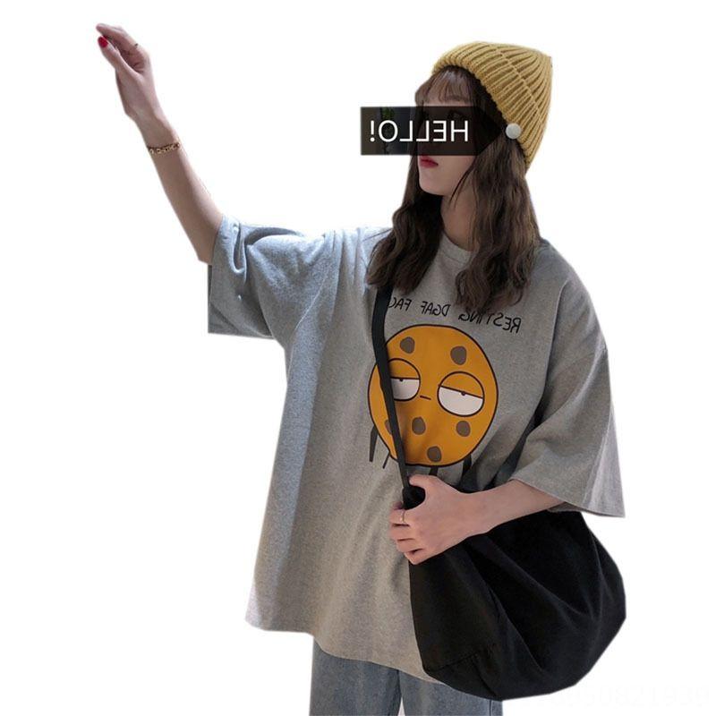 2020 manga corta floja Harajuku bf todo-fósforo funeral medio de manga flojo superior de Harajuku 2020 de las mujeres de manga corta de las mujeres bf todo-fósforo fune