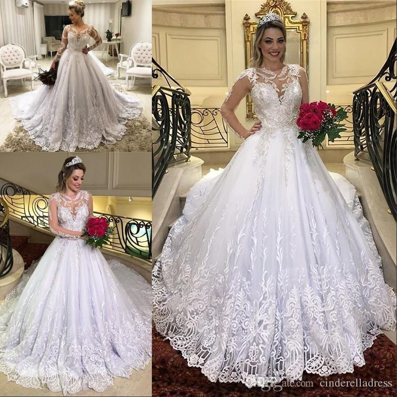 Vintage Vestido De Noiva Lace Aplikacja Suknia Balowa Suknie Ślubne 2020 Tort Train Scoop Suknie Ślubne Długie Rękawy Vestidos Novia