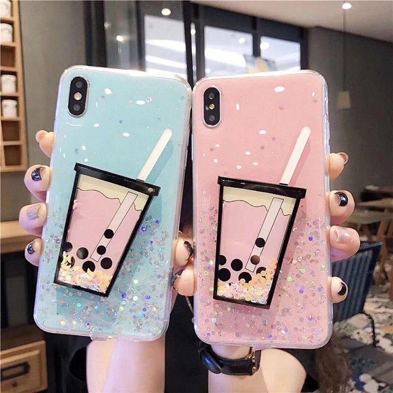 Роскошный 3D Drink Cup Quicksand Чехол для телефона Блеск дрейфового песка Мягкая задняя крышка для iPhone XS MAX XR i6 7 8 PLUS
