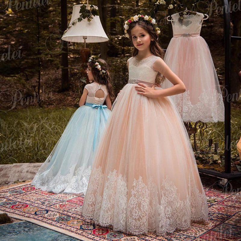 Новые румяна и слоновая кость цветок девушки платья из бисера створки кружева аппликация Луки конкурс платья для детей свадьба 2109
