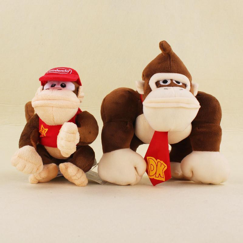 Super Mario en peluche Jouets Cartoon Monkeys Animaux en peluche Poupée et Donkey Kong pour enfants le meilleur de Noël Cadeaux d'anniversaire 2Pcs / Set Y200703