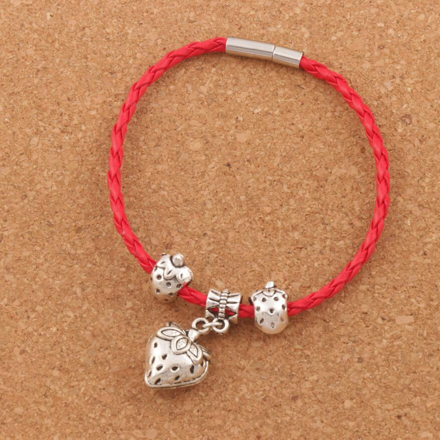 "Strawberry Charm Leather Wrap Woven Bracelet 20pcs/lot Silver Plated Clip Clasp Wristband Christmas European Bangle 8"" BB57"