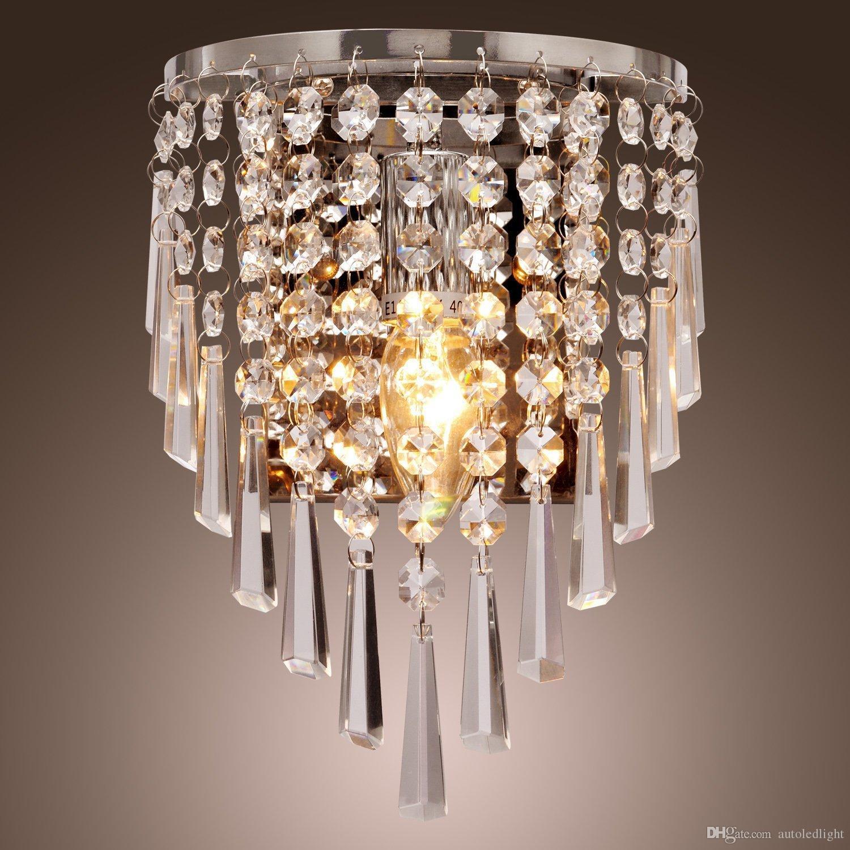 100% Beautiful Crystal Wall Lamp Modern Crystal Wall Light Stainless steel K9 Crystal Wall Lamp Bedroom Bedside Lighting