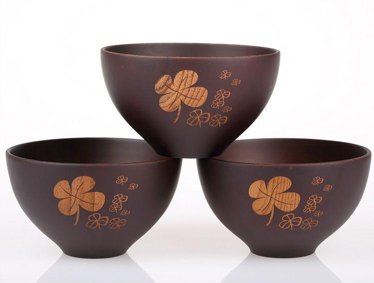 Various Bamboo Wooden Bowl Kitchen Handmade Children Kids Fruit Rice Bowl