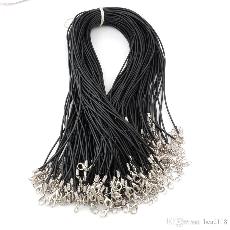 """100pcs / lotti 1.5mm 18 """"Aragosta stringhe stringhe in gomma collana pendenti pendenti reperti per gli accessori da uomo corto fai da te"""