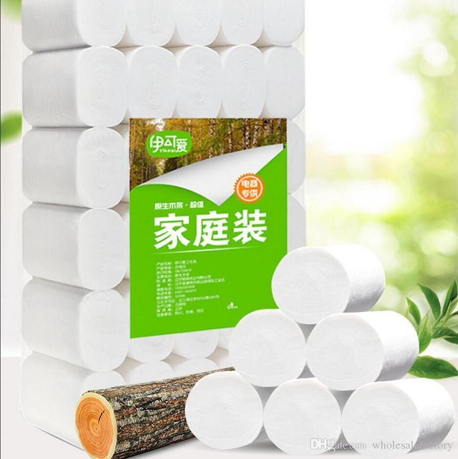 New Em estoque Branco Rolo do papel higiénico tecido bloco de 10 3ply Toalhas Tissue Household papel higiênico tecido FS9500