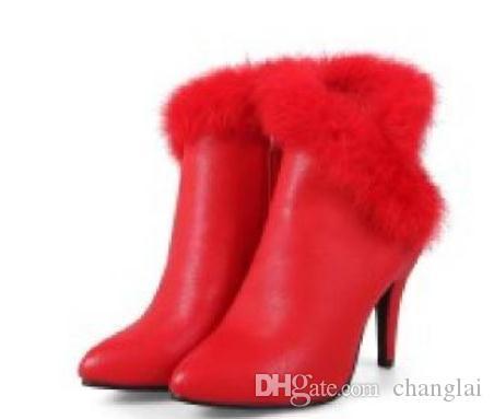 2018 Stivali da donna in inverno con Nuovo stile Tacco alto Tacco a punta fine più velluto Mantenere caldo antiscivolo