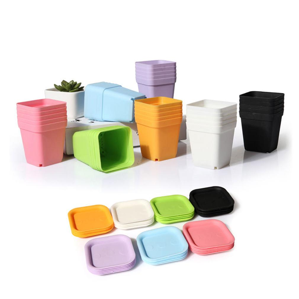Mini Square Plastic Plant Flower Pot Home Office Decor Planter Colorful With Pots Trays Green Plant Artificial WYQ