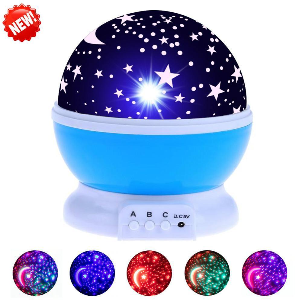 Nursery Night Light Projector Estrela Lua Sky Rotating pilhas de cabeceira quarto lâmpada para Crianças Baby Kids Bedroom