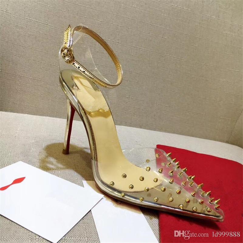 Luxury RED BOTTOM Tacchi alti Chiodo con cinturino in plastica trasparente con scarpe da donna con bocca superficiale Scarpe con tacchi moda 8/10 / 12CM 0001