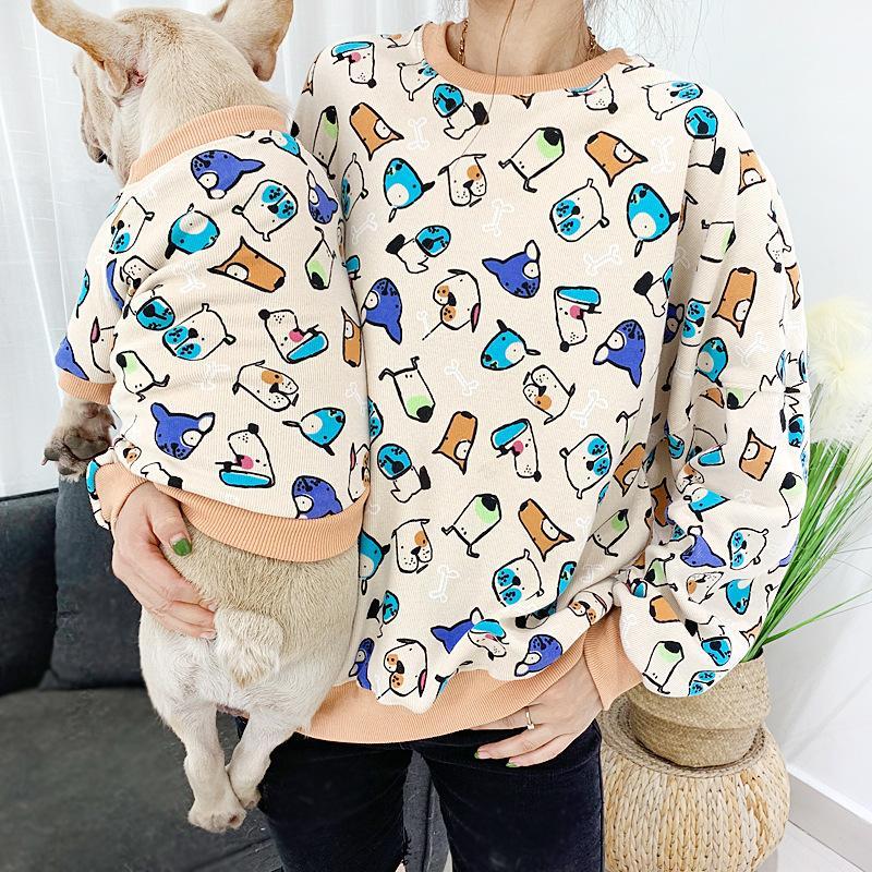 2020 Yuvarlak Yaka Köpek Giyim Moda 4 Renkler Pet Giyim Teddy Tam Baskı Kedi Giyim Sıcak Satış