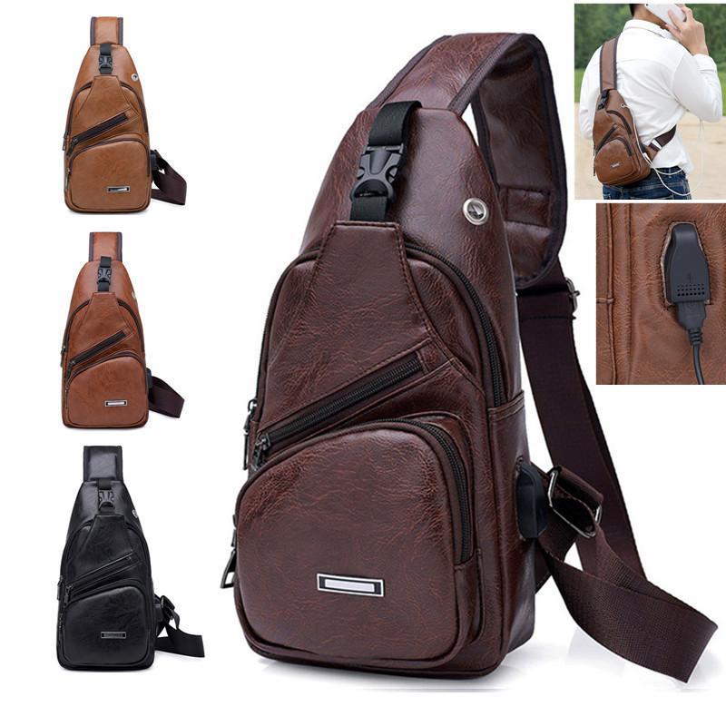 Transfronterizo Para Personalizar Pu Hombro Carga Hombres Usb Paquete diagonal Messenger Bag Chest Nuevo 2019 J190721