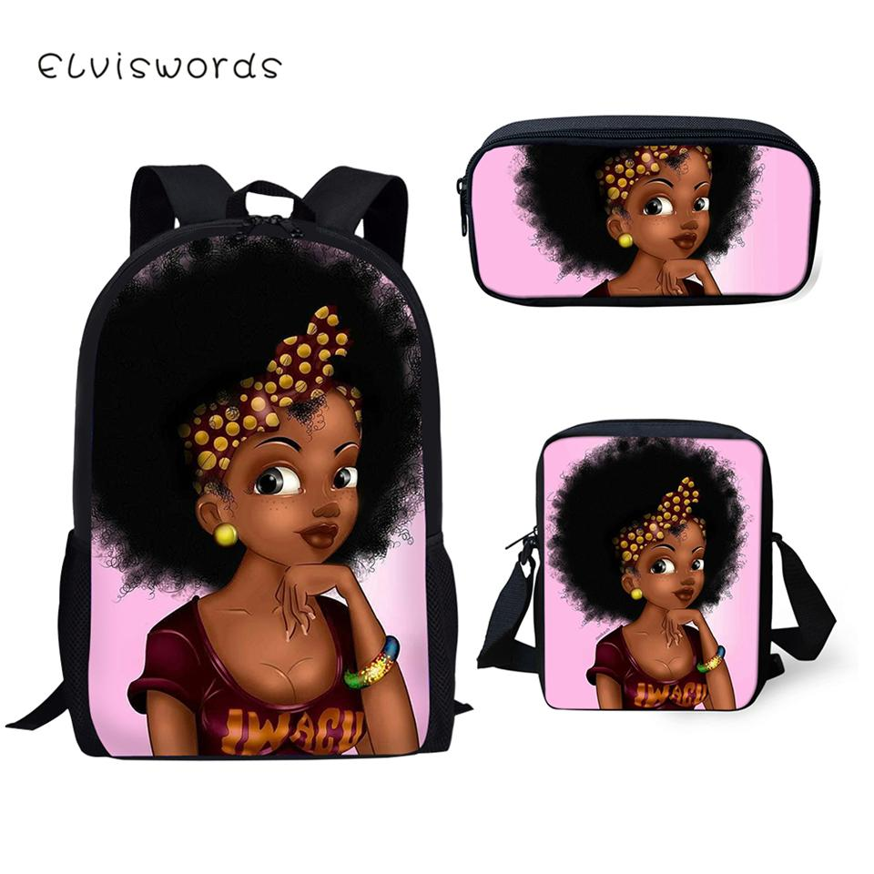 ELVISWORDS Moda Kis Mochila Escolar africanos Prints Meninas Escola Padrão sacos de livro 3PCs dos desenhos animados Set Estudantes Bolsas