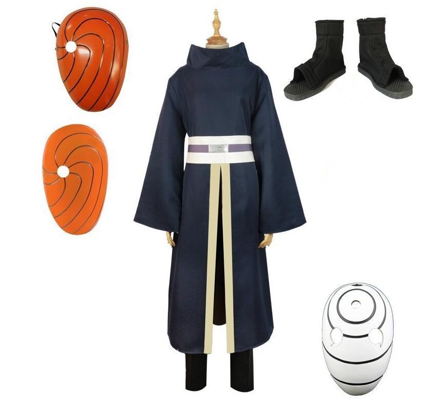 High Quality Naruto Cosplay Costumes Uchiha Obito Cosplay Long Sleeves Black Cloak and Mask
