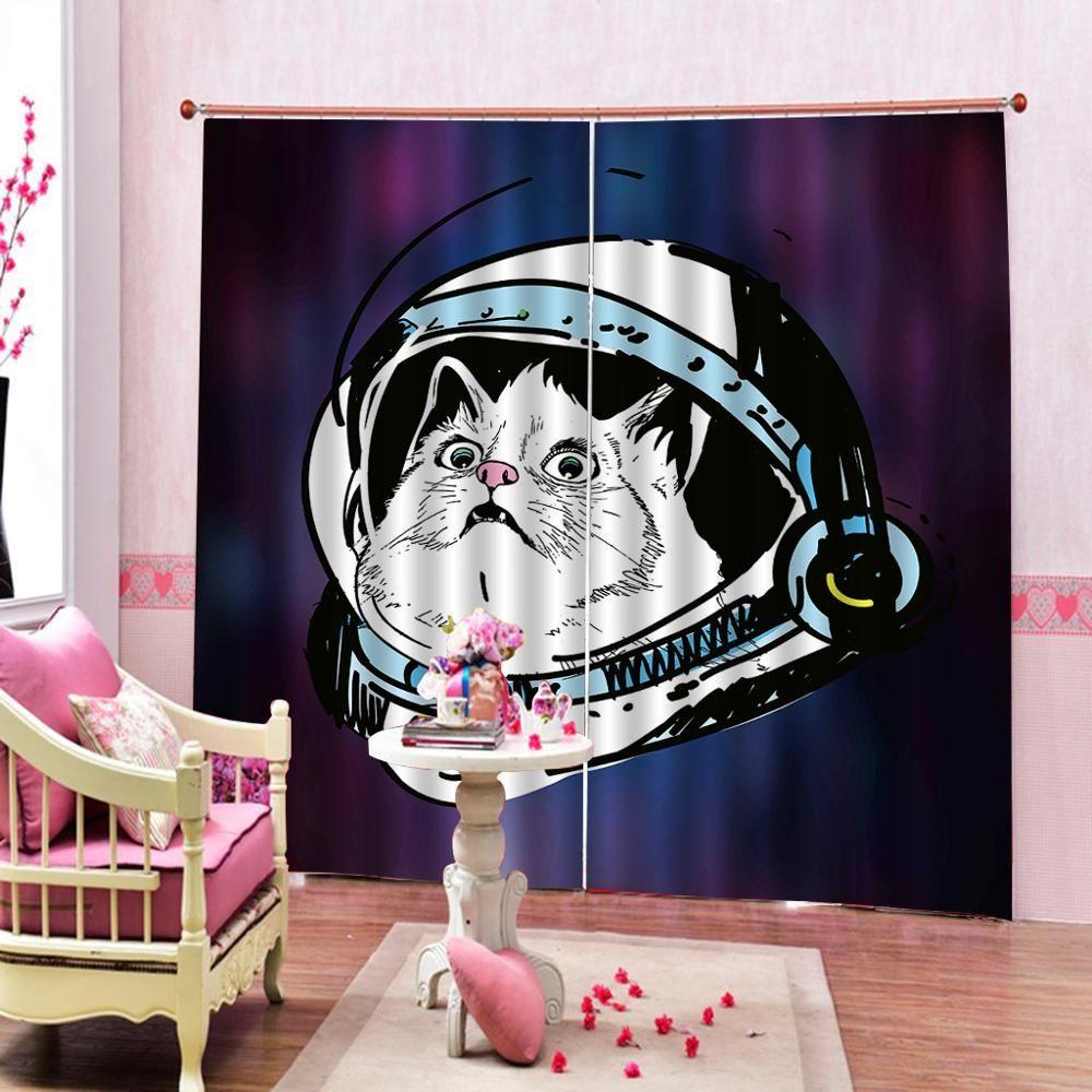 Bad Duschvorhänge Raum Katze Lustig Wohnzimmer Schlafzimmer Verdunkelungsvorhang für Fenster Dekoration