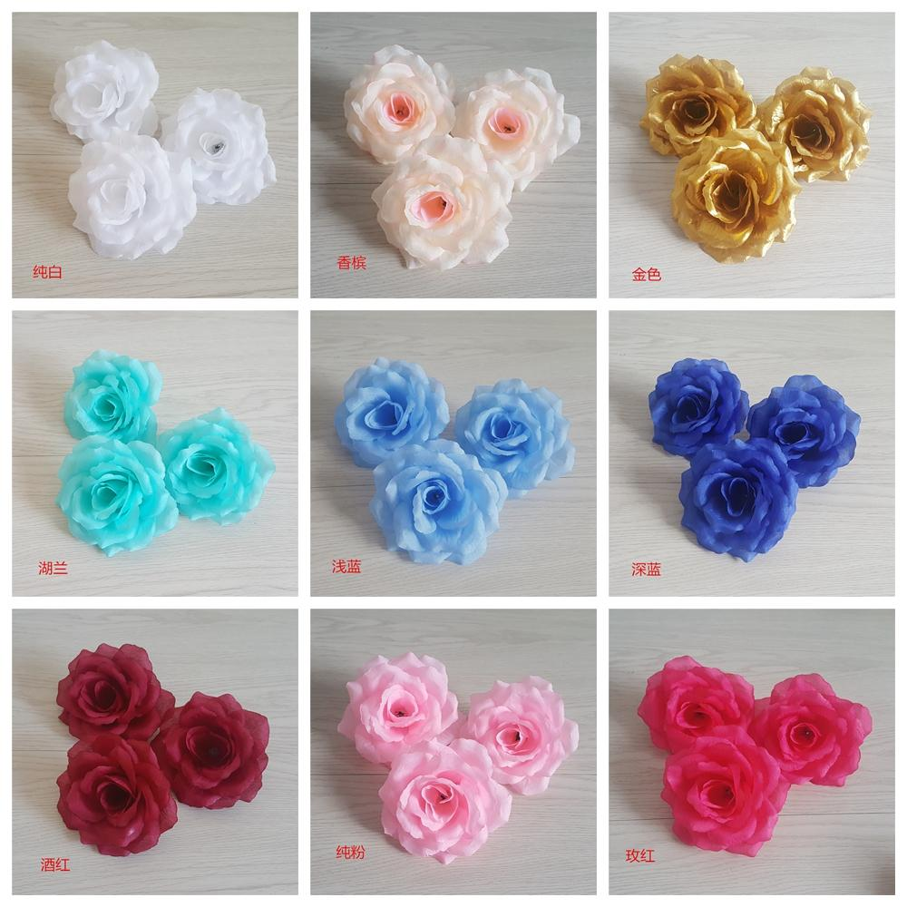 LOT 20PCS 4inch 10cm Roses Silk Flower Heads Wedding Decoration Ivory Cream Champagne Purple Pink Light Blue Royal White Flowers