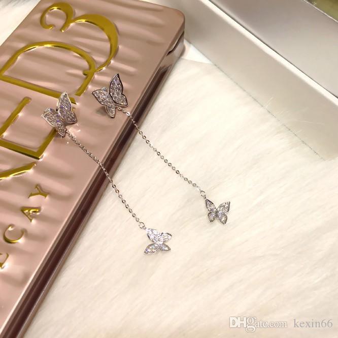 2019 Korea neue 925 Silber Nadel Temperament Schmetterling lange Ohrringe Quaste