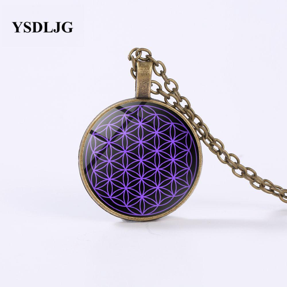 GDRGYB Colar Esotérico - Flor da vida Mandala símbolo da meditação Ioga - Occult jóias colar